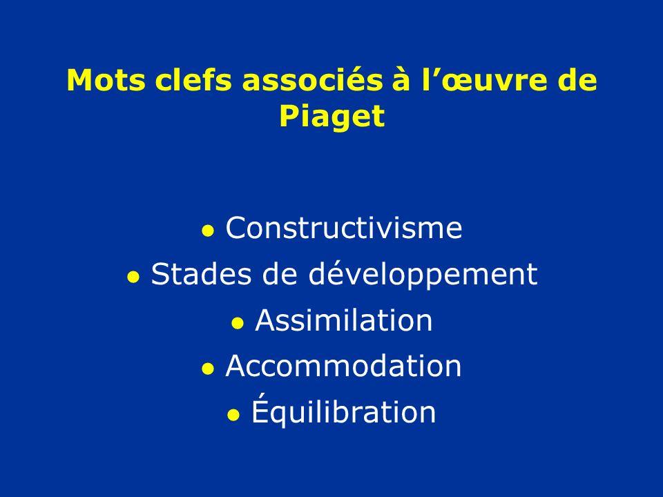 Mots clefs associés à l'œuvre de Piaget