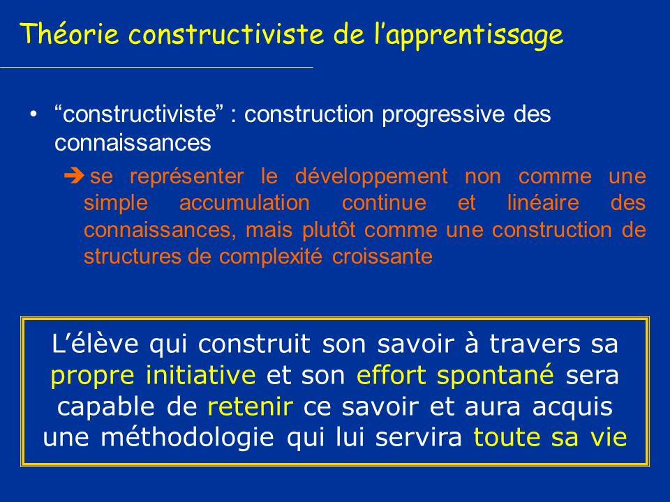 Théorie constructiviste de l'apprentissage