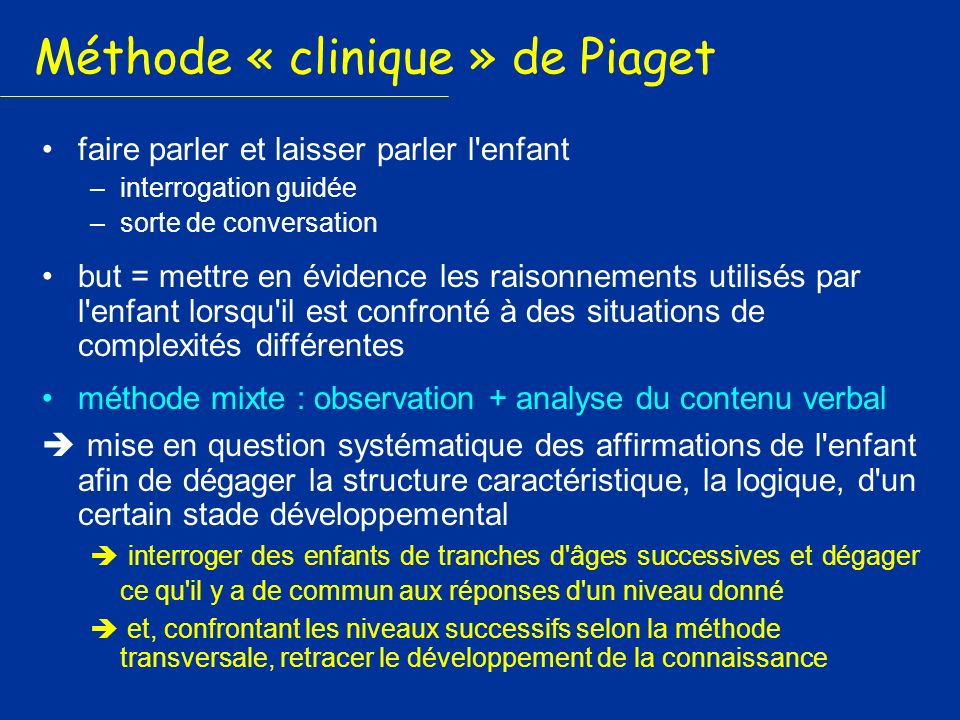 Méthode « clinique » de Piaget