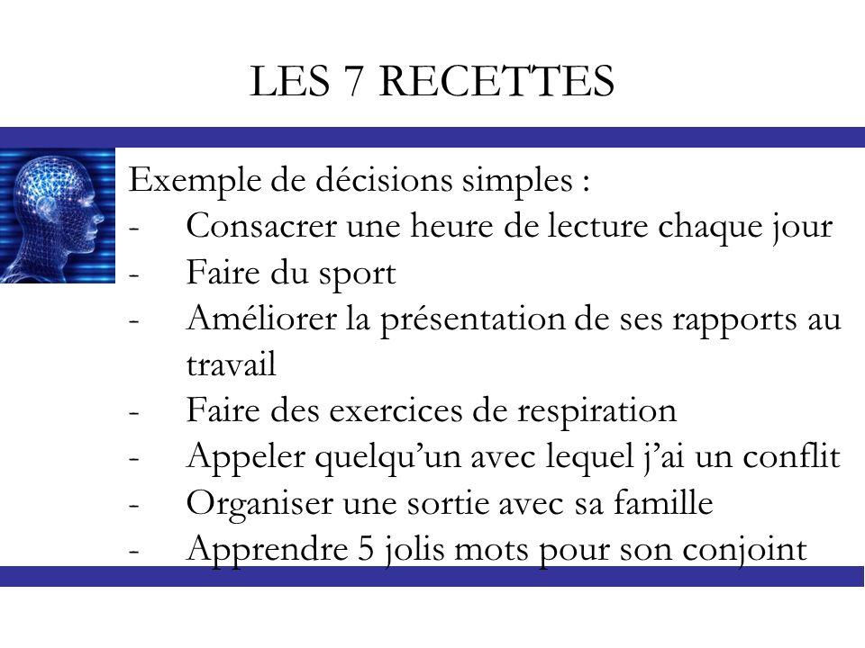 LES 7 RECETTES Exemple de décisions simples :