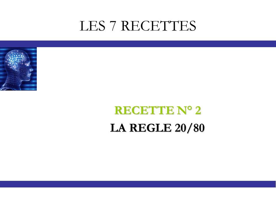 LES 7 RECETTES RECETTE N° 2 LA REGLE 20/80