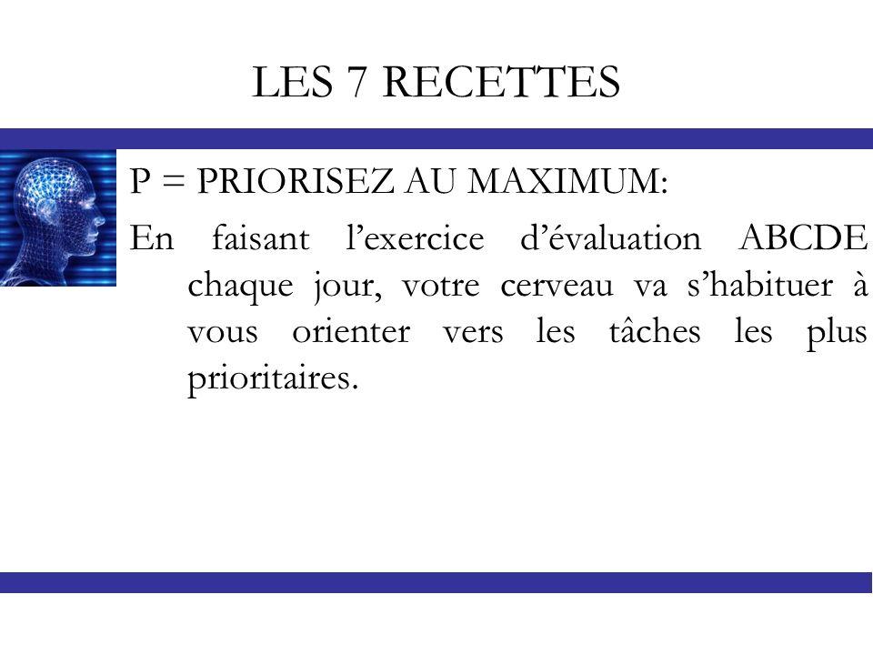 LES 7 RECETTES P = PRIORISEZ AU MAXIMUM: