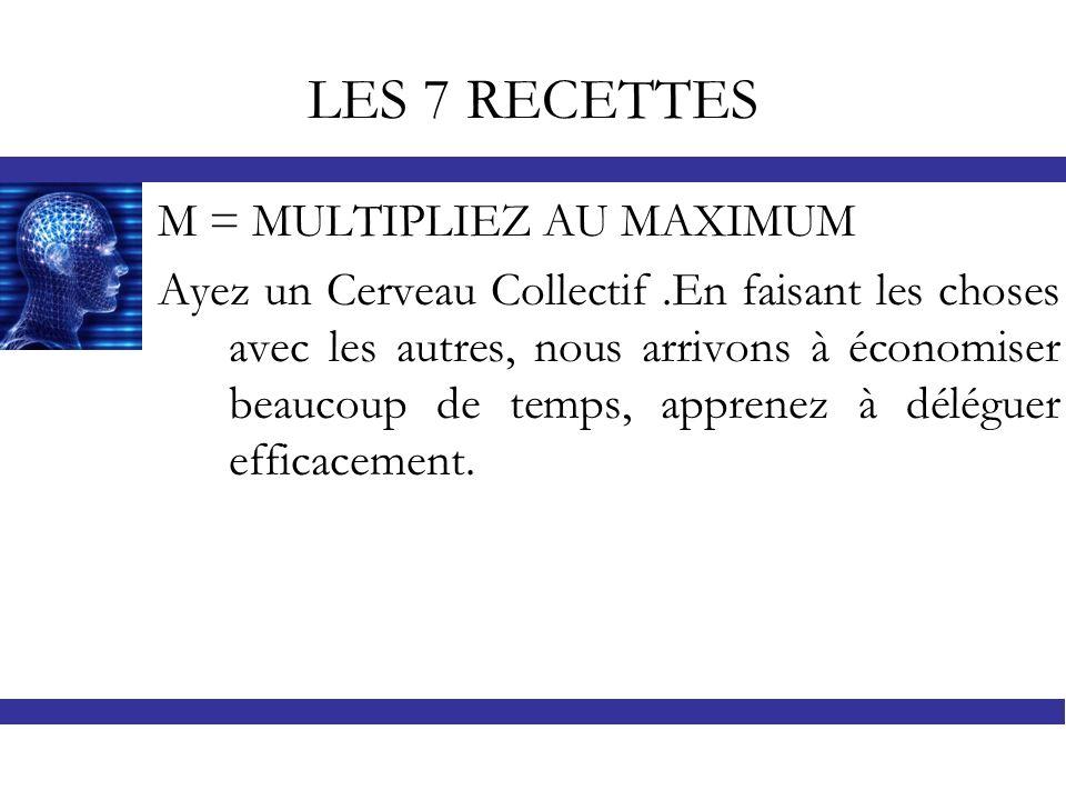 LES 7 RECETTES M = MULTIPLIEZ AU MAXIMUM