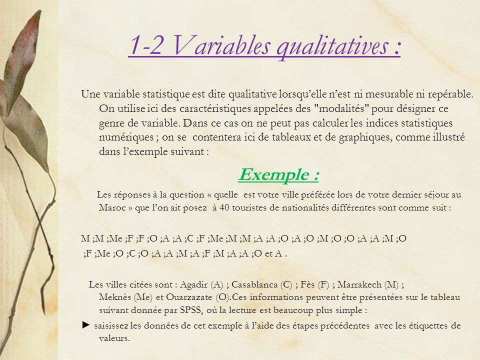 1-2 Variables qualitatives :