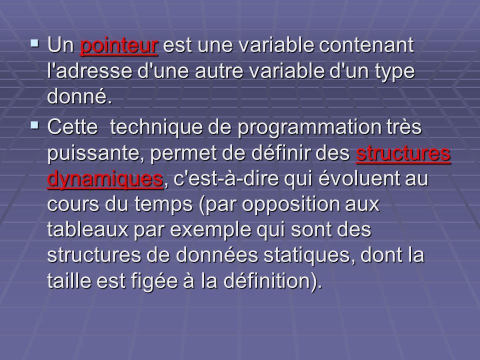 Un pointeur est une variable contenant l adresse d une autre variable d un type donné.