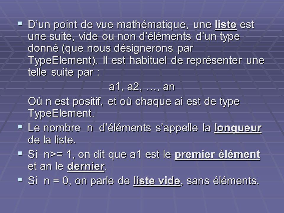 D'un point de vue mathématique, une liste est une suite, vide ou non d'éléments d'un type donné (que nous désignerons par TypeElement). Il est habituel de représenter une telle suite par :