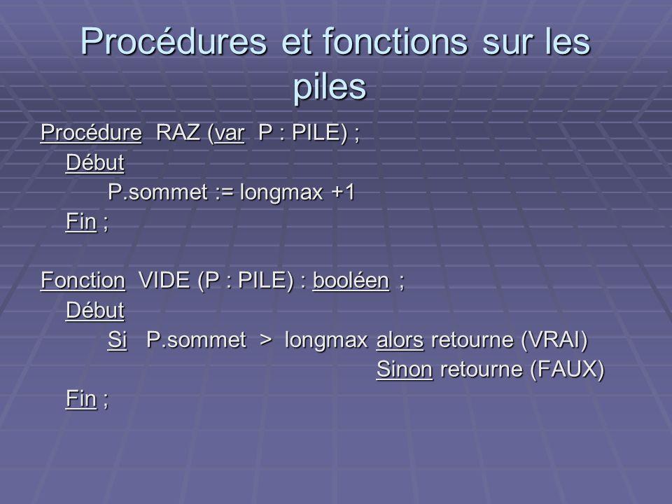 Procédures et fonctions sur les piles