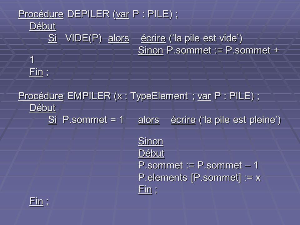Procédure DEPILER (var P : PILE) ; Début