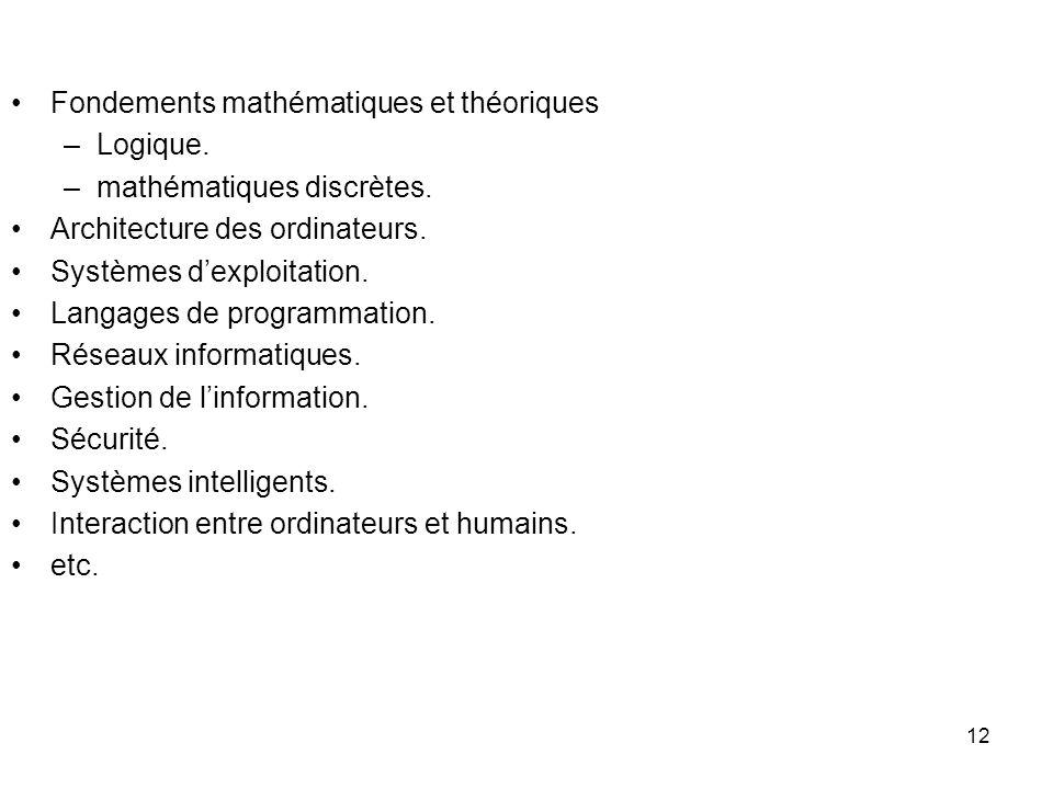 Fondements mathématiques et théoriques