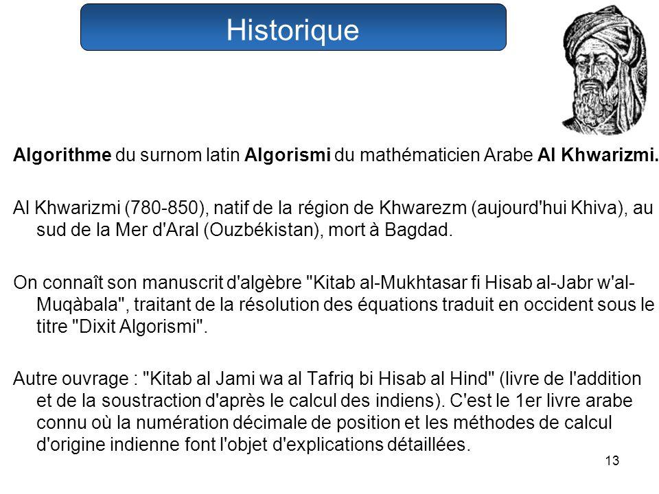 Historique Algorithme du surnom latin Algorismi du mathématicien Arabe Al Khwarizmi.
