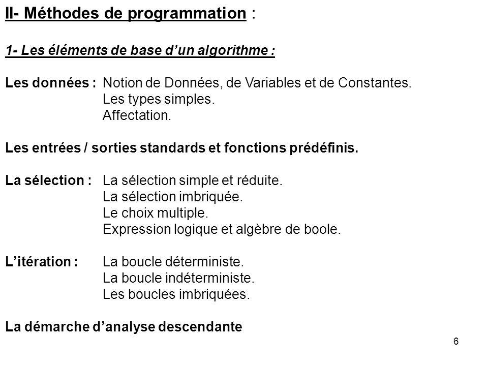 II- Méthodes de programmation :