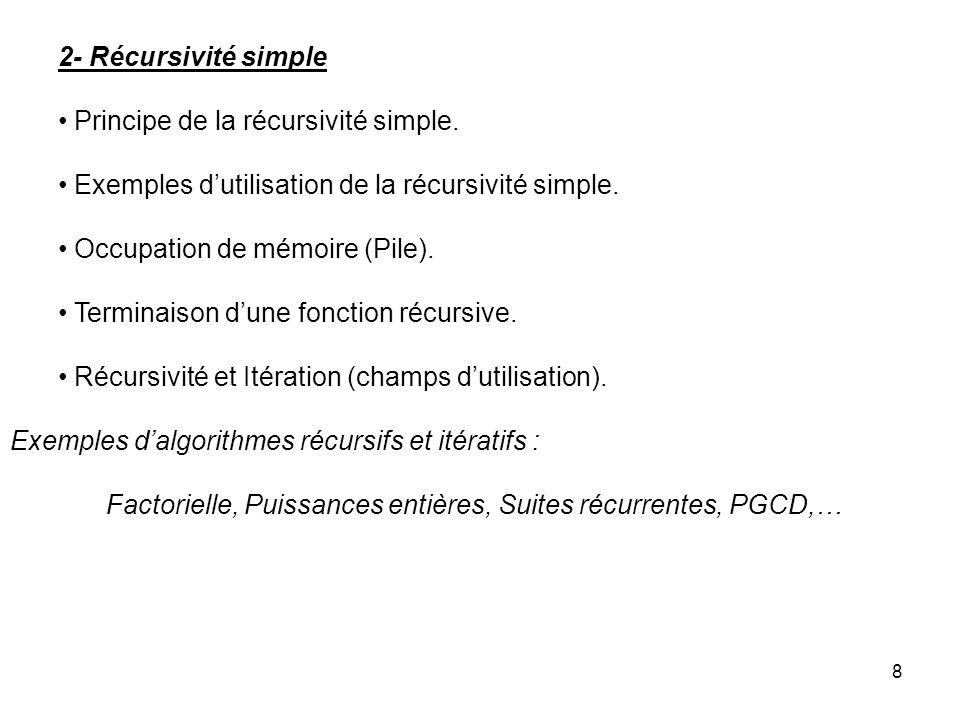 2- Récursivité simple Principe de la récursivité simple. Exemples d'utilisation de la récursivité simple.