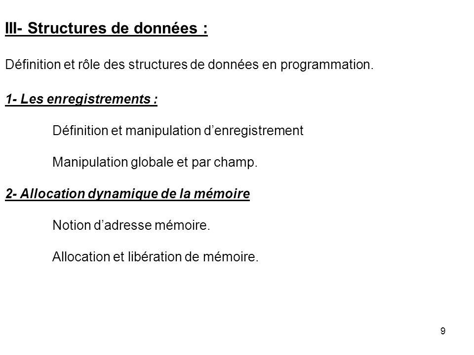 III- Structures de données :