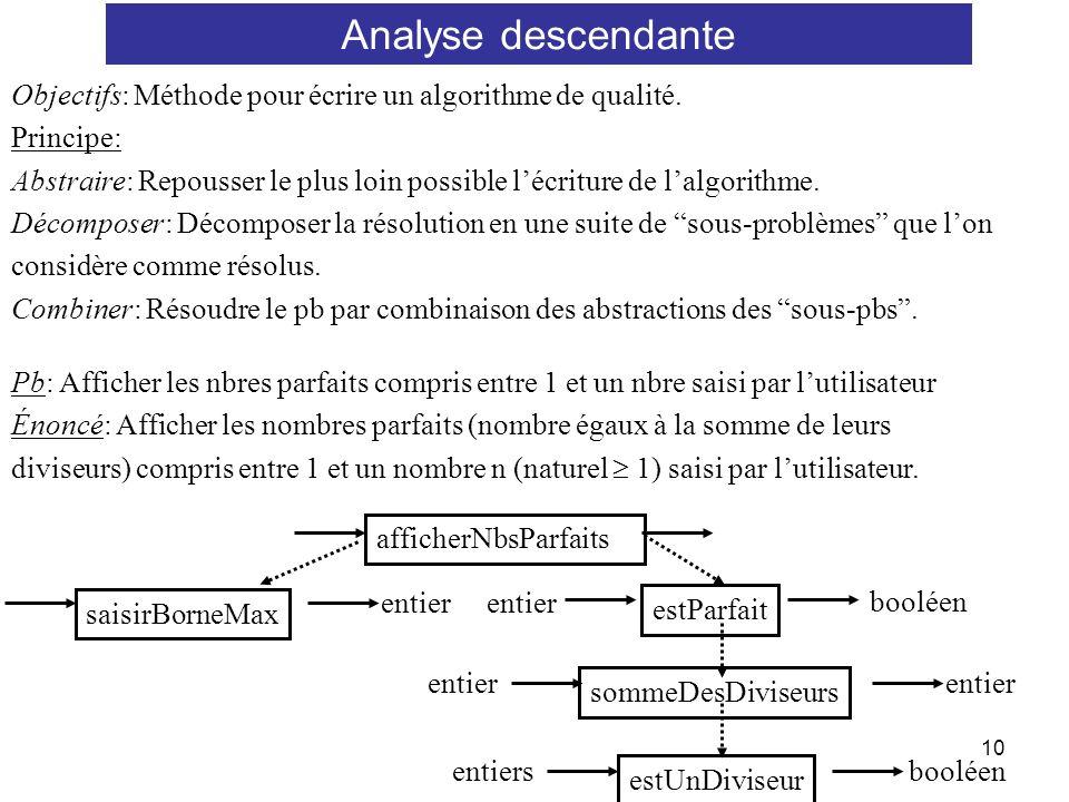 Analyse descendante Objectifs: Méthode pour écrire un algorithme de qualité. Principe: