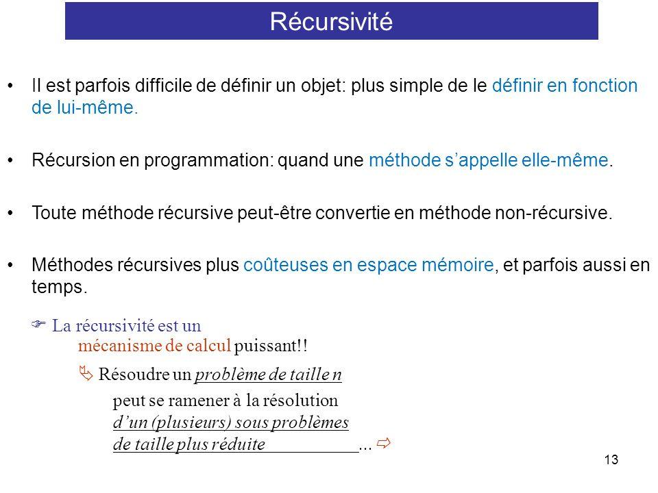 Récursivité Il est parfois difficile de définir un objet: plus simple de le définir en fonction de lui-même.