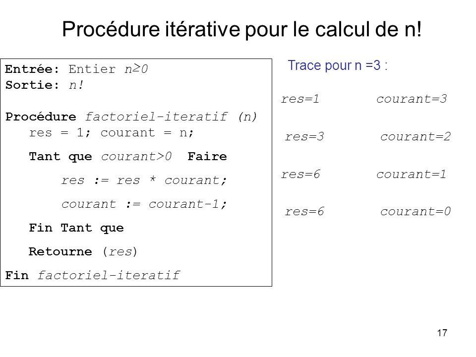 Procédure itérative pour le calcul de n!