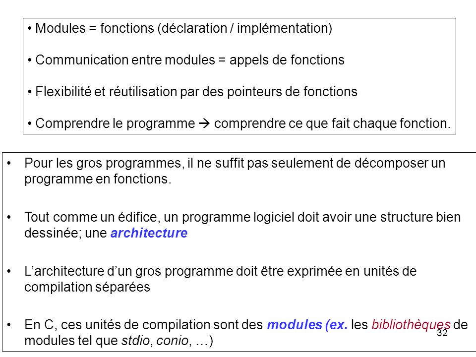 Modules = fonctions (déclaration / implémentation)