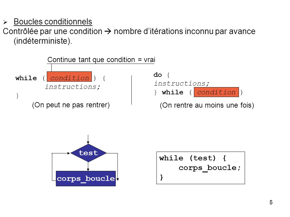 Boucles conditionnels