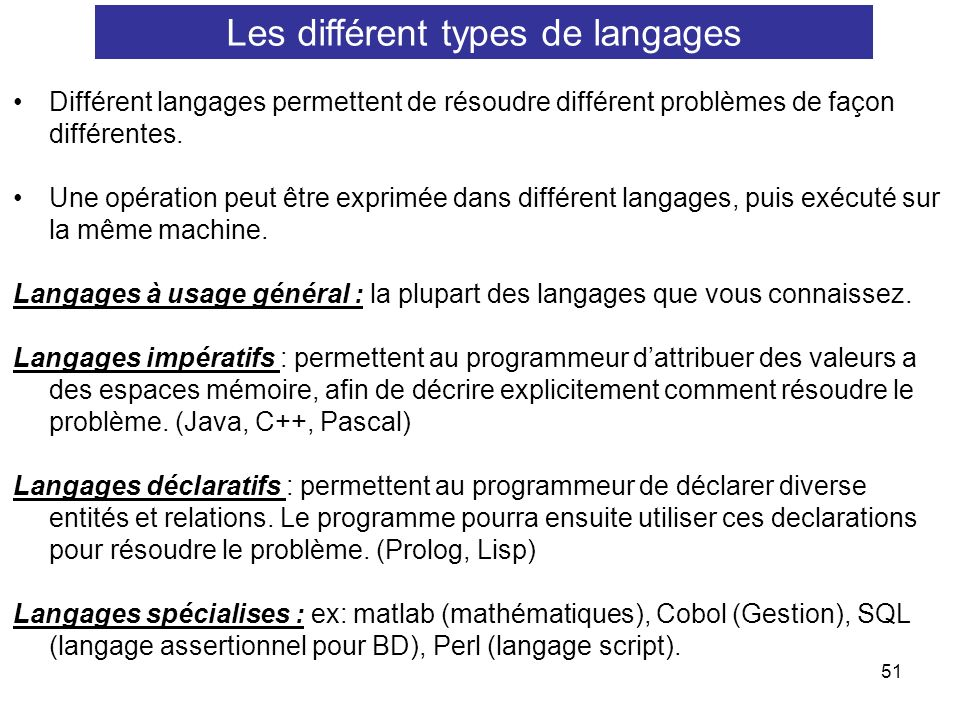 Les différent types de langages