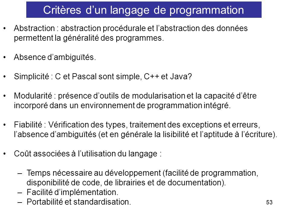 Critères d'un langage de programmation