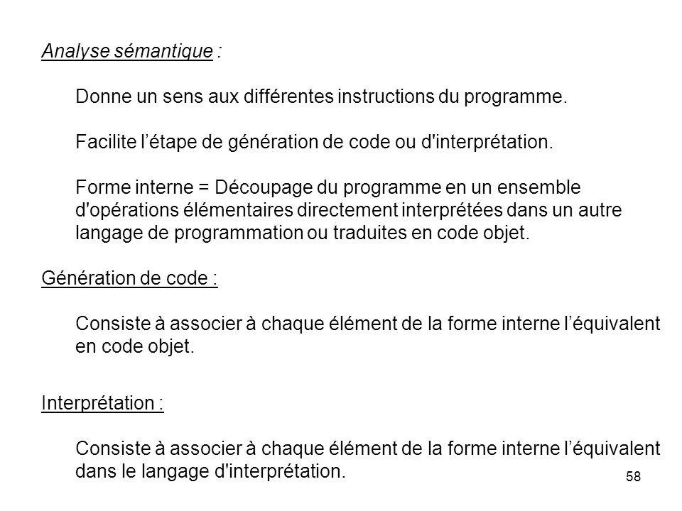 Analyse sémantique : Donne un sens aux différentes instructions du programme. Facilite l'étape de génération de code ou d interprétation.