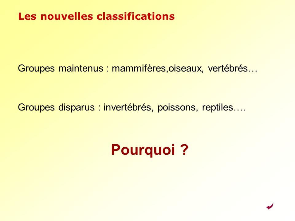 Les nouvelles classifications