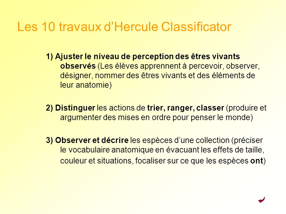 Les 10 travaux d'Hercule Classificator