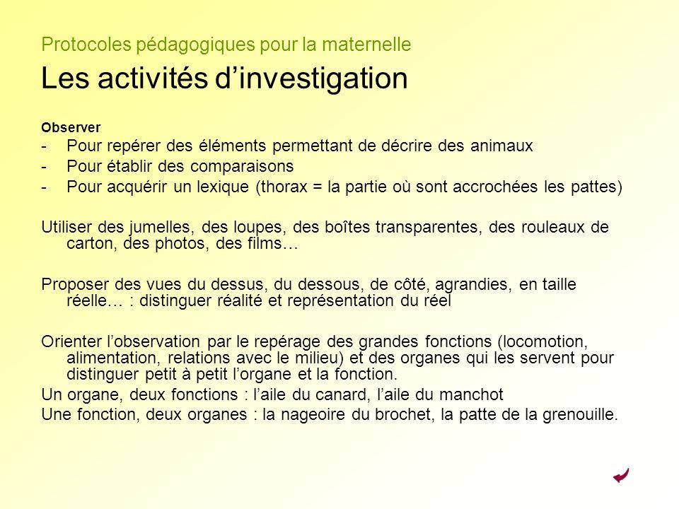 Protocoles pédagogiques pour la maternelle Les activités d'investigation