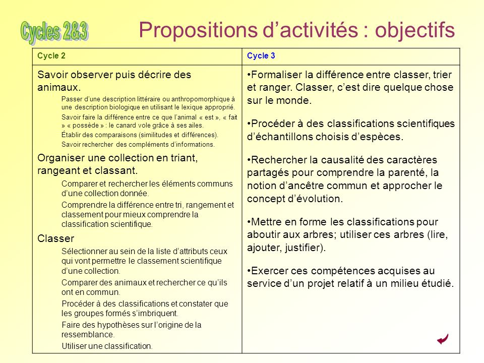Propositions d'activités : objectifs