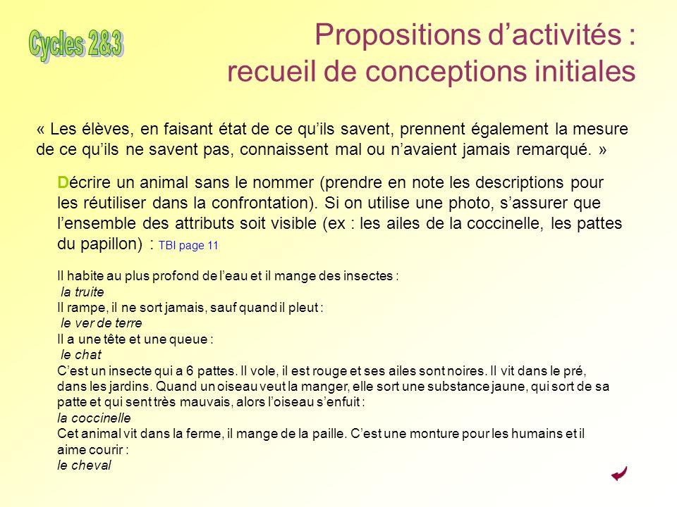 Propositions d'activités : recueil de conceptions initiales