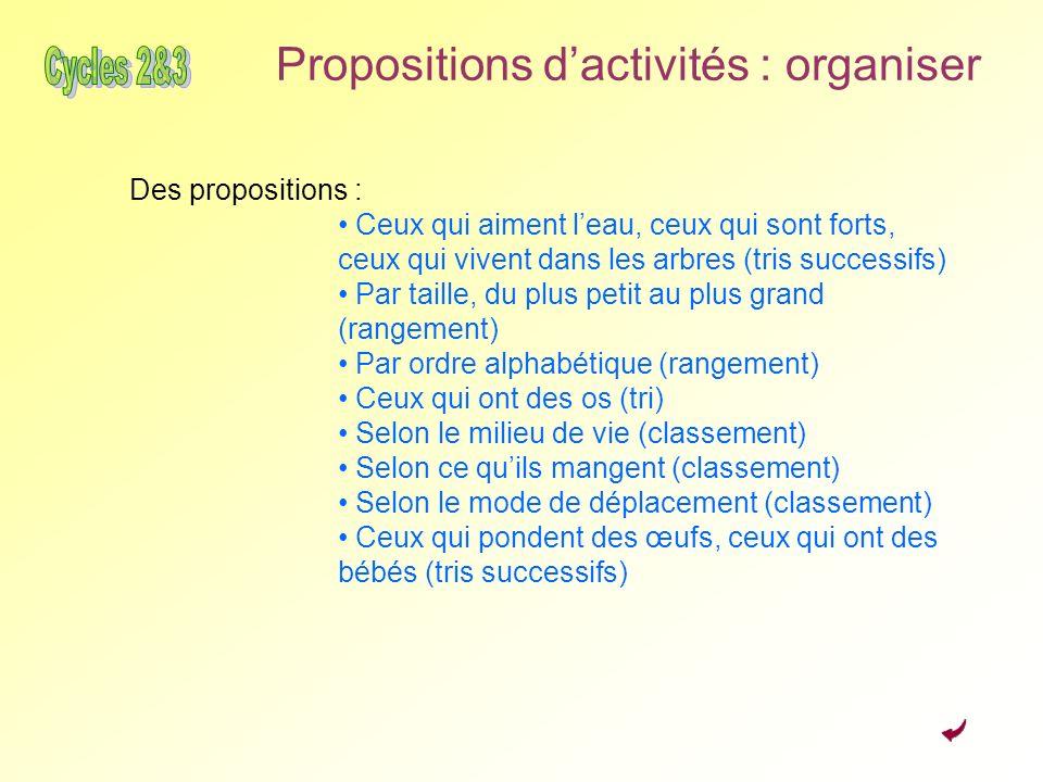 Propositions d'activités : organiser