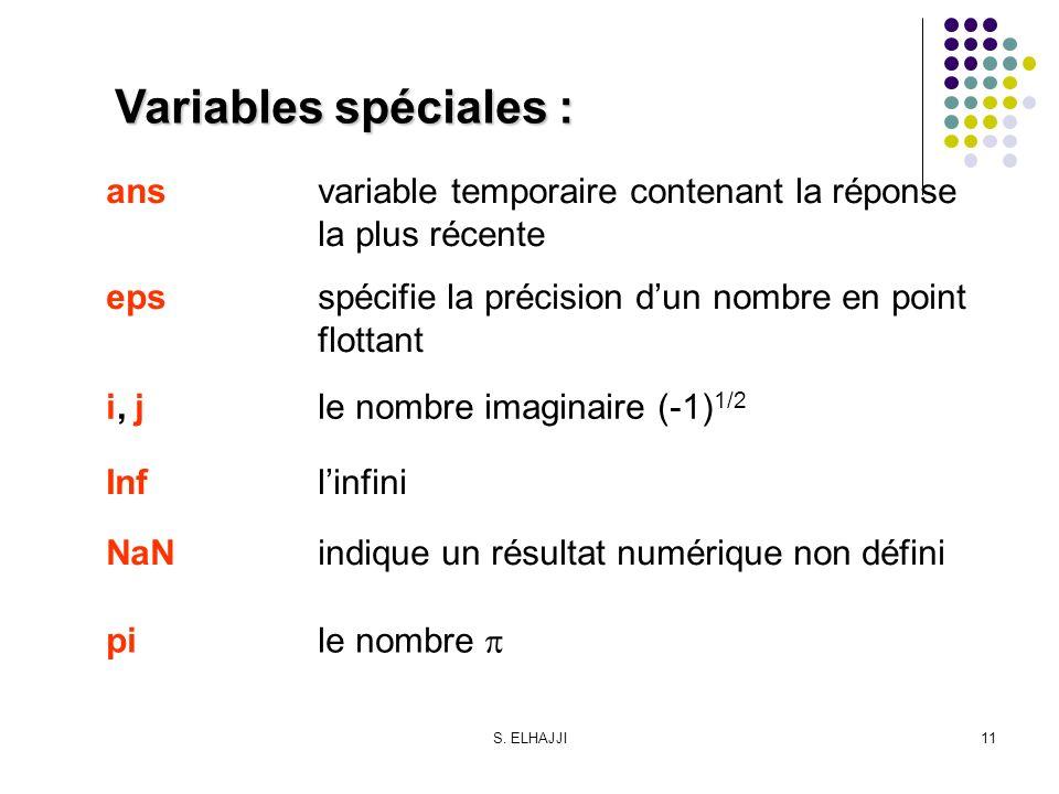 Variables spéciales : ans variable temporaire contenant la réponse