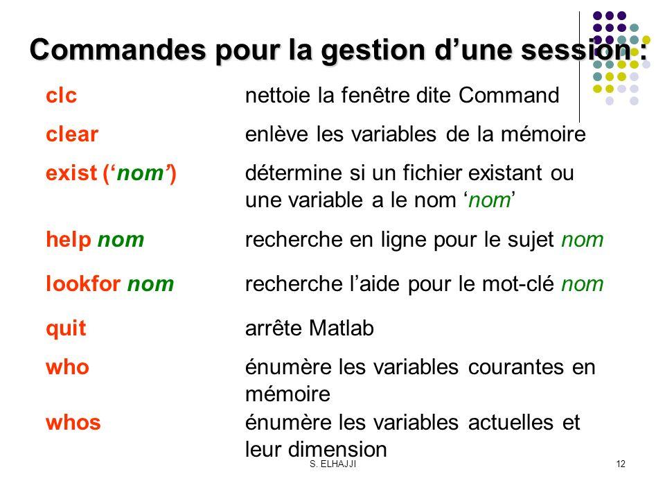 Commandes pour la gestion d'une session :
