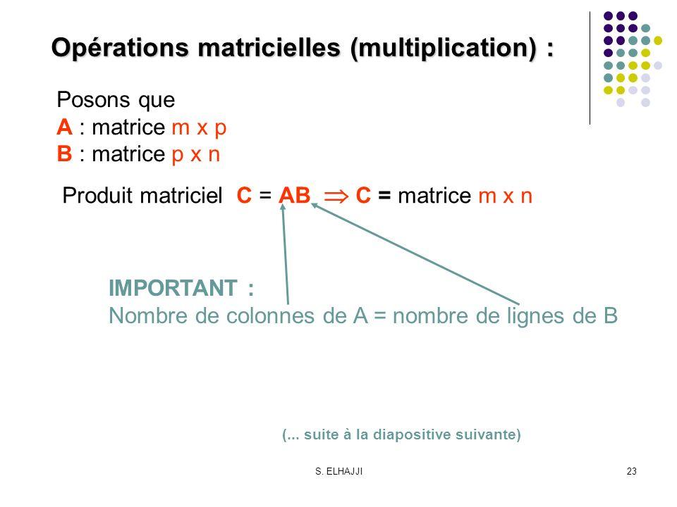 Opérations matricielles (multiplication) :