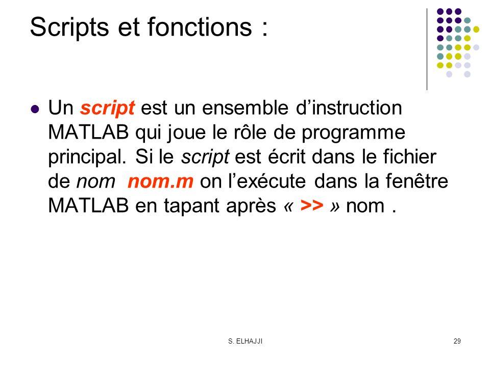 Scripts et fonctions :