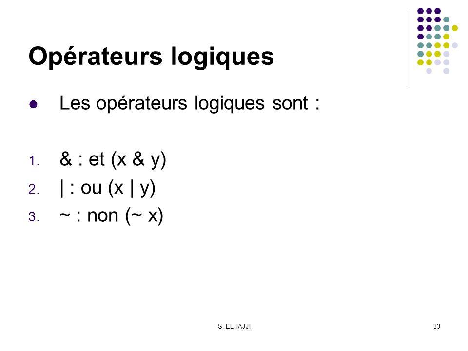 Opérateurs logiques Les opérateurs logiques sont : & : et (x & y)