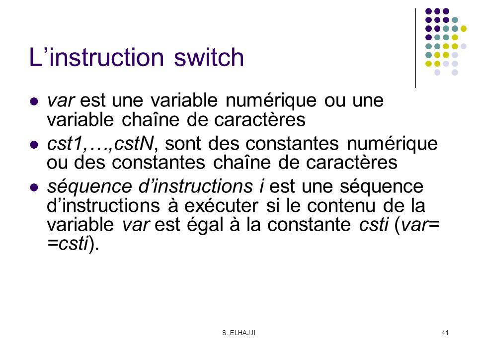L'instruction switch var est une variable numérique ou une variable chaîne de caractères