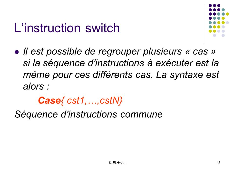 L'instruction switch
