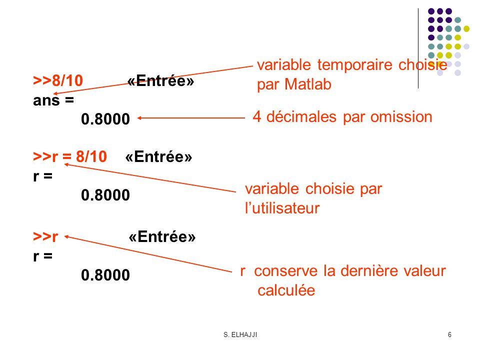 variable temporaire choisie par Matlab >>8/10 «Entrée» ans =