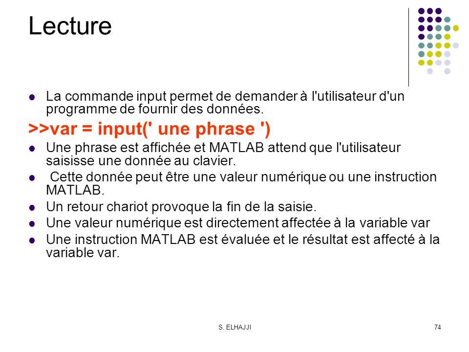 Lecture >>var = input( une phrase )