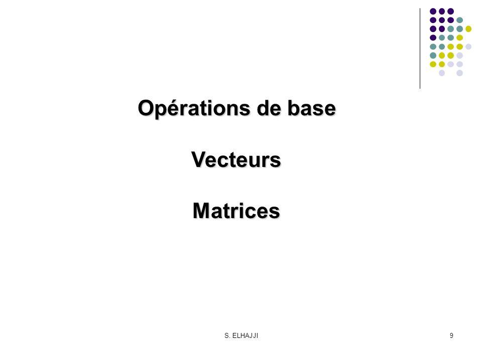 Opérations de base Vecteurs Matrices