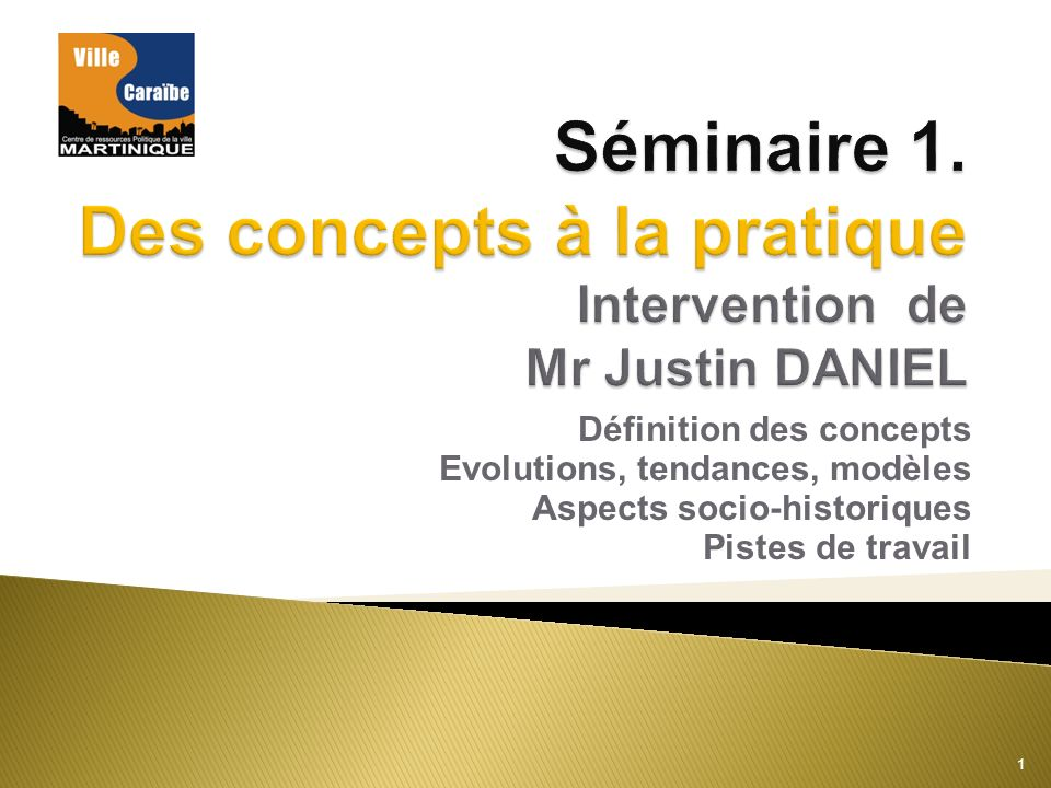 Séminaire 1. Des concepts à la pratique Intervention de Mr Justin DANIEL