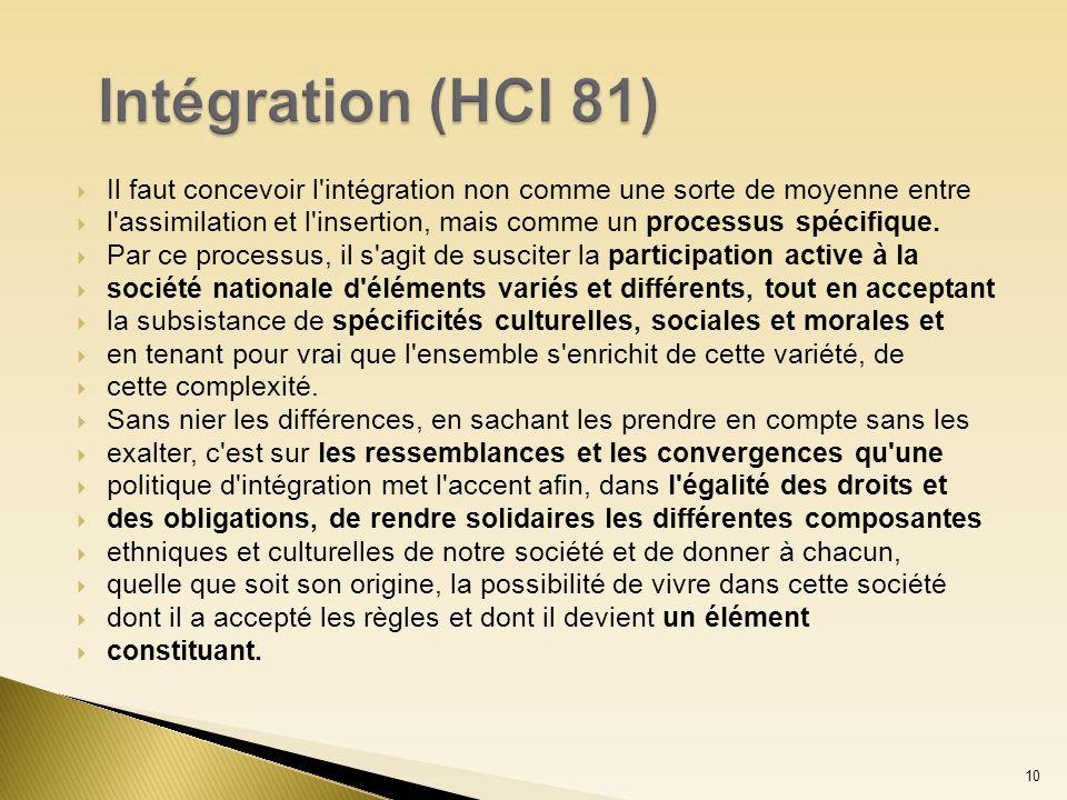 Intégration (HCI 81) Il faut concevoir l intégration non comme une sorte de moyenne entre.