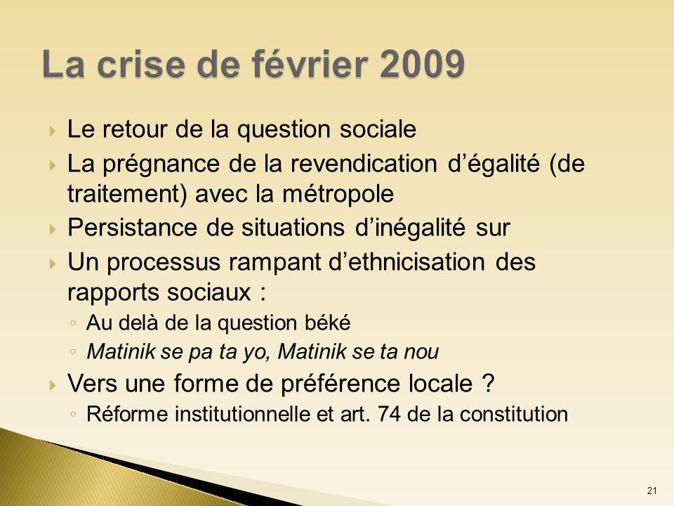 La crise de février 2009 Le retour de la question sociale