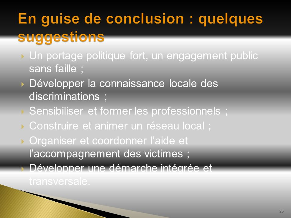 En guise de conclusion : quelques suggestions