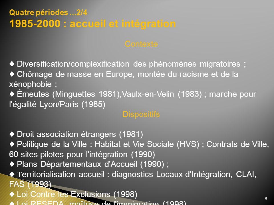 1985-2000 : accueil et intégration