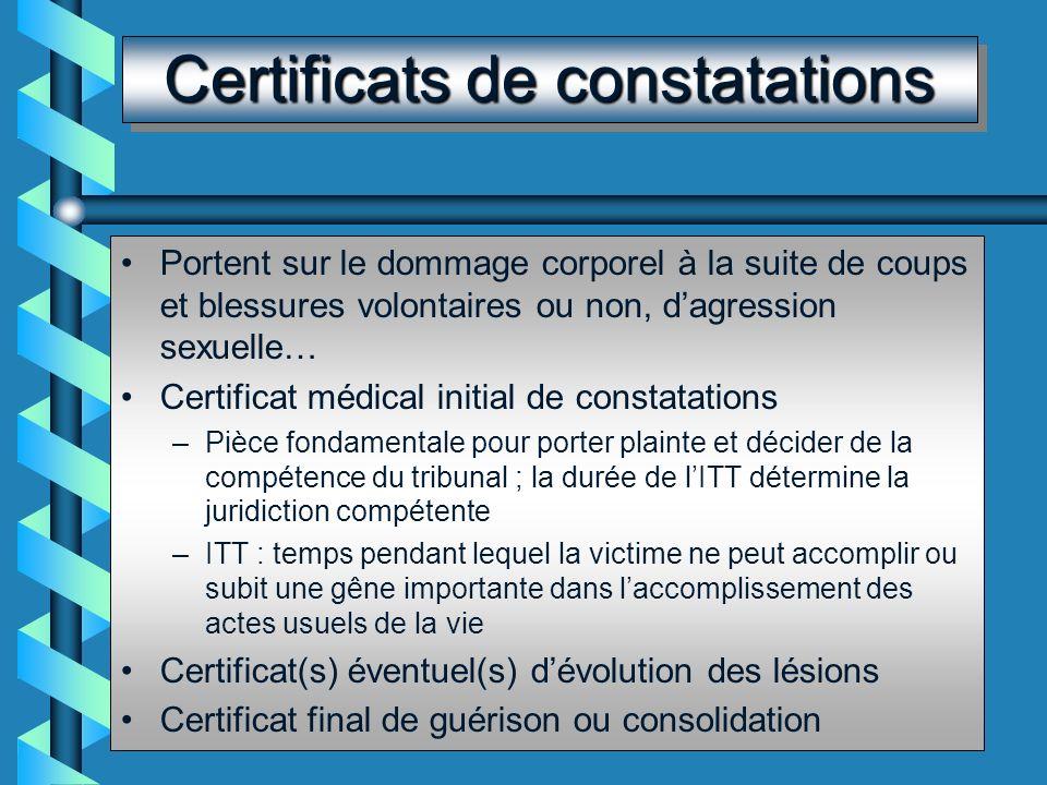 Certificats de constatations