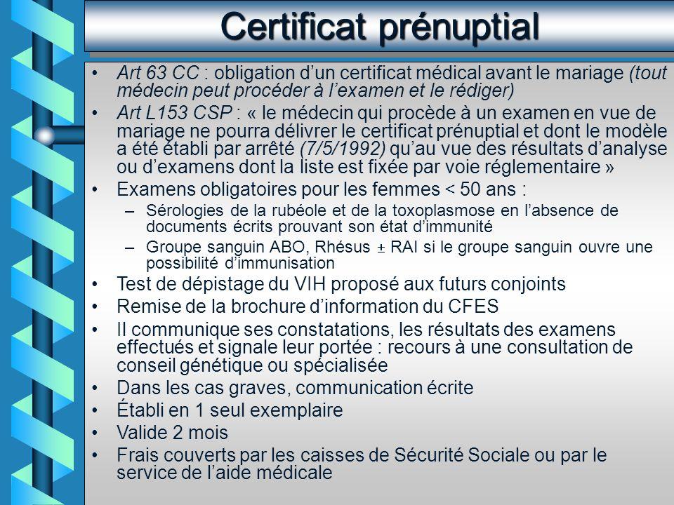 Certificat prénuptial