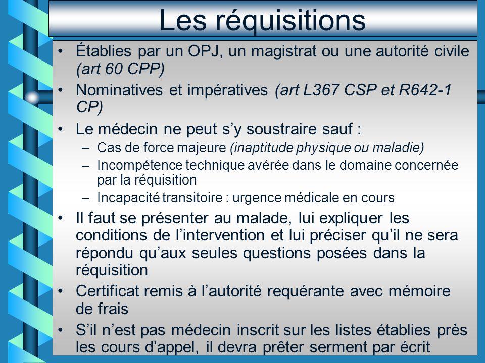 Les réquisitions Établies par un OPJ, un magistrat ou une autorité civile (art 60 CPP) Nominatives et impératives (art L367 CSP et R642-1 CP)