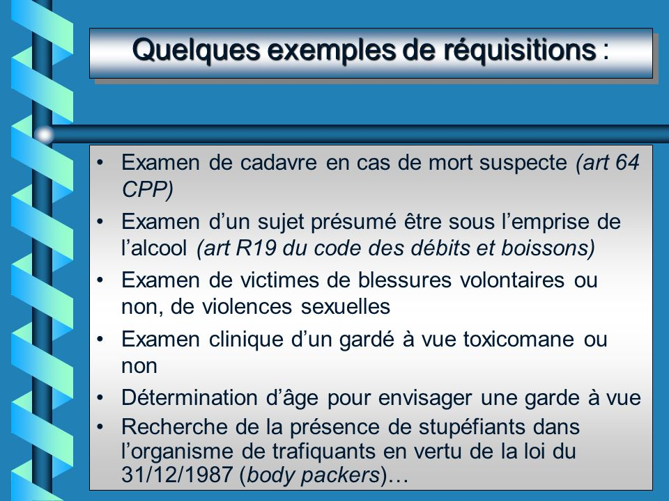 Quelques exemples de réquisitions :